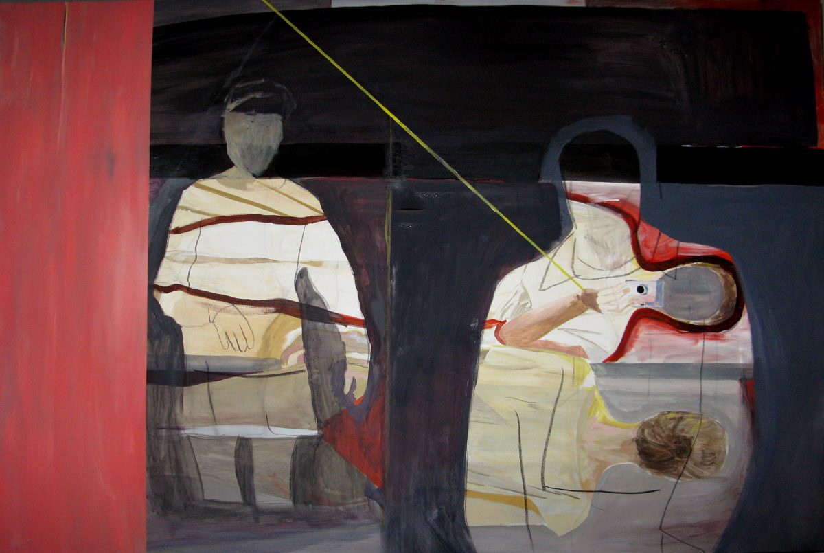 Two figures with yellow line