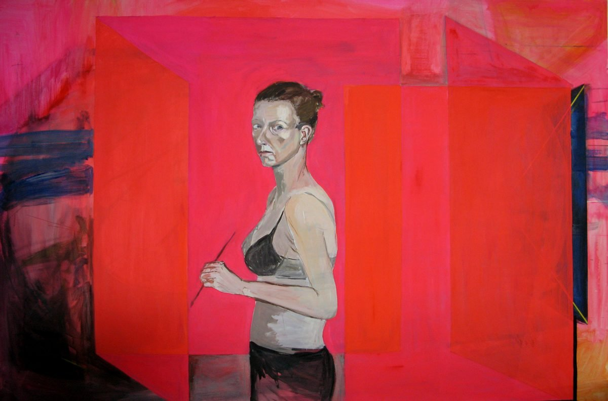Portrait in pink square space